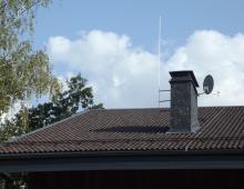 Защита дымохода и спутниковой антенны с помощью молниеприёмной мачты